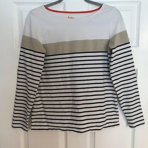 BODEN Breton Striped Black Ivory Sweater Glitter S